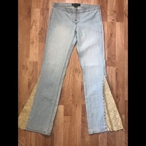 JLo Inset Beige Lace Studded Flare Bell Jeans Sz 5